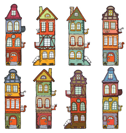 8 cartoon houses Vector