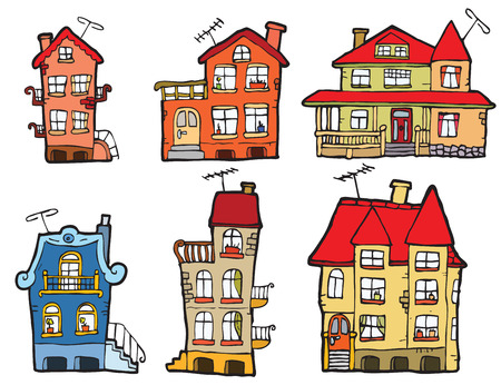 house in hand: 6 vector cartoon houses  colors  Illustration