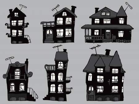 Houses in the night Vector