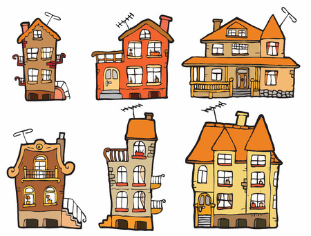 6 vector cartoon houses  colors  Vector
