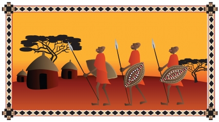 african village: African warriors going to the their village Illustration