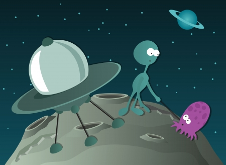 Two aliens and spaceship Vector