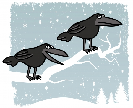 Crows sitting on the tree  winter scenery  Vector