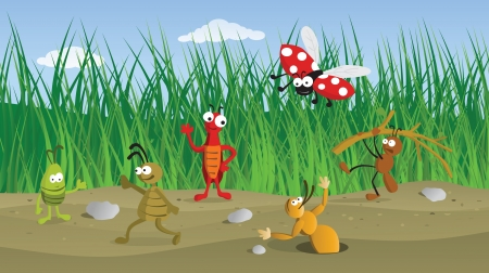 Funny bugs in the grass Vector