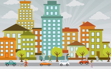 Flat city life Illustration