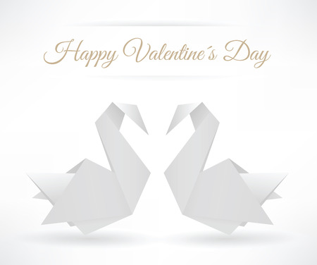 Swans origami  happy Valentine´s Day  Vector