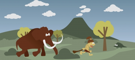 Prehistoric man and mammoth Vector