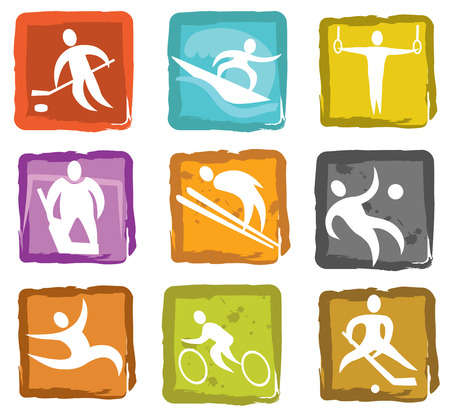 num: Summer and winter games icon set num  2