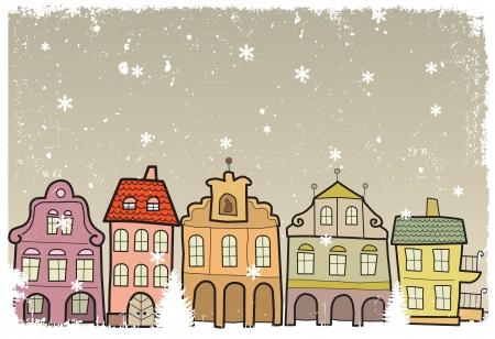 Town in Winter Vector