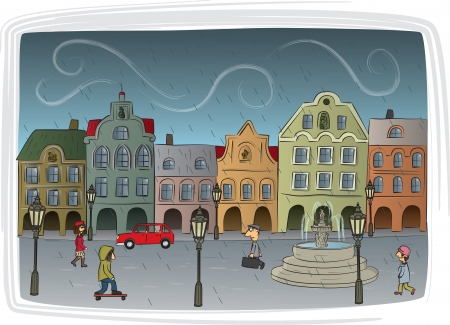 Rainy day in the town Vector