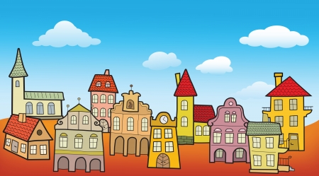 Old town scenery Vector
