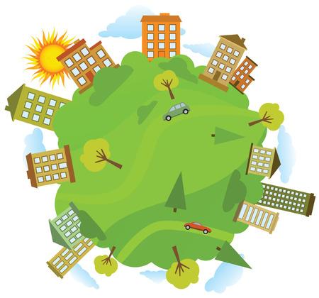Around the green World Illustration