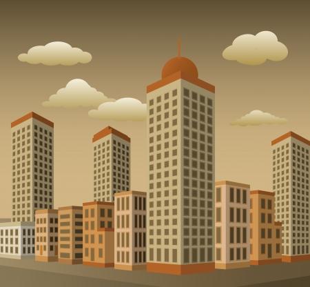 Ville en perspective couleurs sépia Banque d'images - 22822726