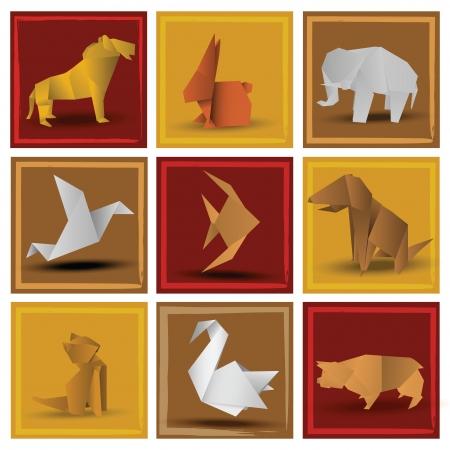 lion dog: Origami animals