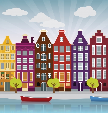 modern house exterior: City illustration  Amsterdam  Illustration