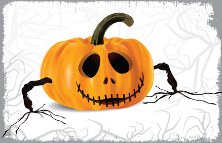 Halloween pumpkin with hands Vector