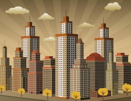 視点のセピア色の町  イラスト・ベクター素材
