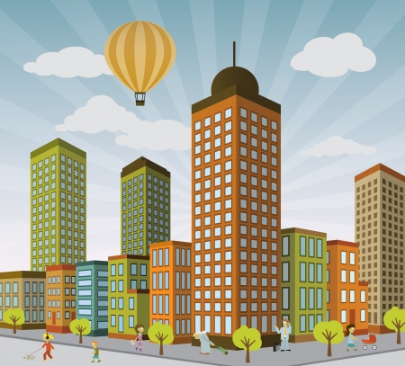 городской пейзаж: Городская жизнь в перспективе Иллюстрация
