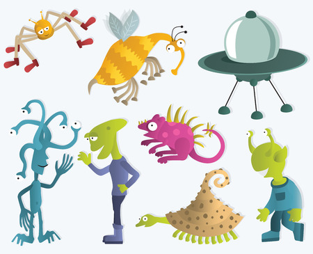 Funny Creatures from another Planets 2 Vector
