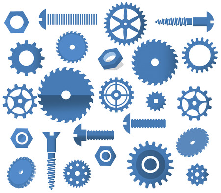 circular saw: Vector materials  tooth wheels, screws, circular saw  Illustration