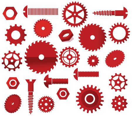 circular saw: Vector materials  circular saw, tooth wheels, screws