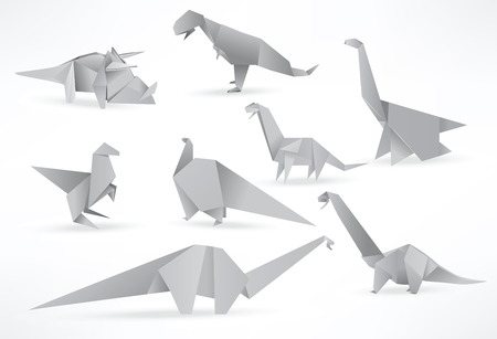 Origami dinosaurs Vector