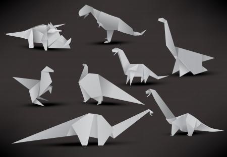 Origami dinosaurs Vector