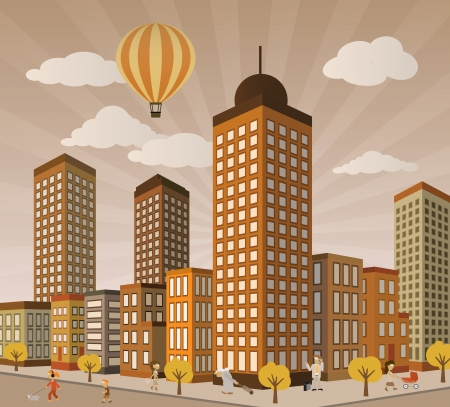 City life in perspective  retro colors  Vector