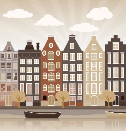 City illustration  Amsterdam  Vector