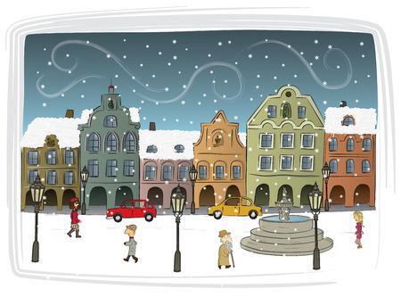 Town in Winter 2 Vector