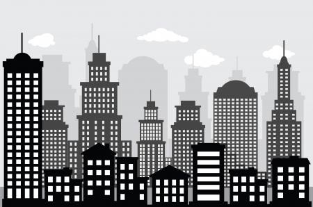 都市の景観の黒の白