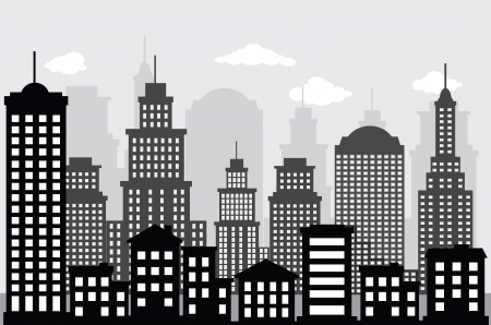 Cityscape  black   white  Ilustração
