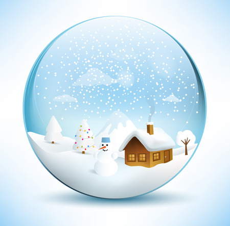 paperweight: Christmas sphere - house with christmas tree