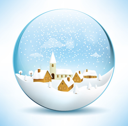 paperweight: Christmas sphere - village