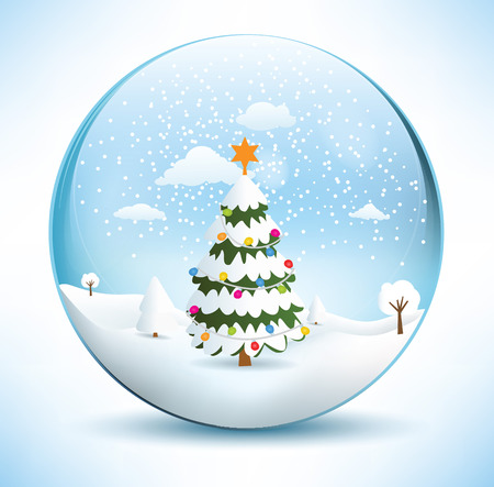 paperweight: Christmas sphere - tree