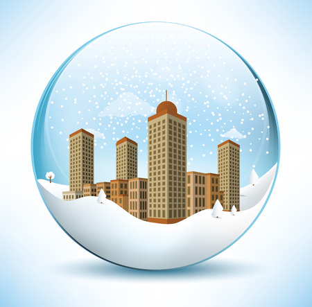 paperweight: Christmas sphere - city  sepia colors