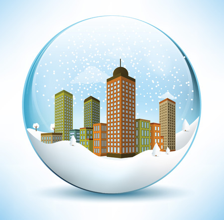 paperweight: Christmas sphere - city  colors  Illustration