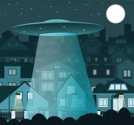 UFO flying over the night city Illustration