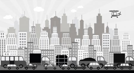 Embouteillage dans la ville noir blanc Banque d'images - 22973834