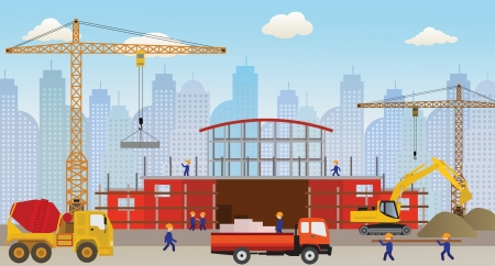 Making the new building  shopping center  Vector