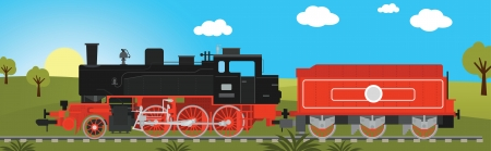 Steam locomotive with wagon Vector
