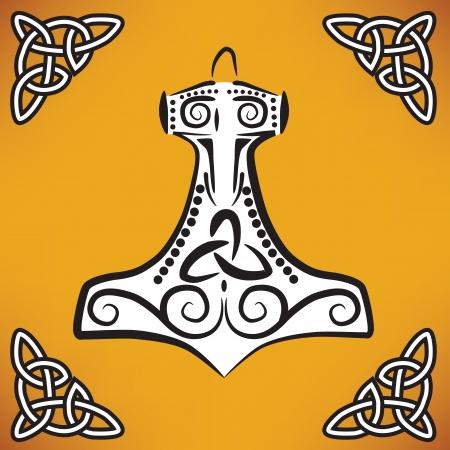 Thor s Hammer  nordic ornament  Vector