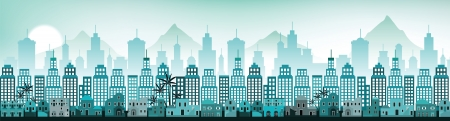 Cityscape Arabia  blue colors  Vector