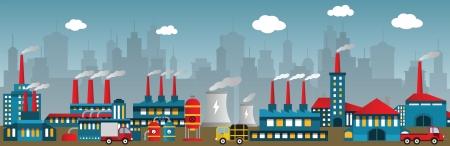 市内の工場  イラスト・ベクター素材