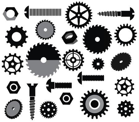 Vector materials  circular saw, tooth wheels, screws