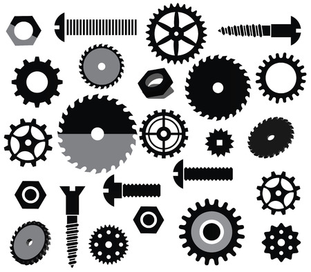 screws: Vector materials  circular saw, tooth wheels, screws