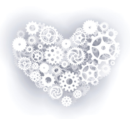Mechanical heart  white  Vector