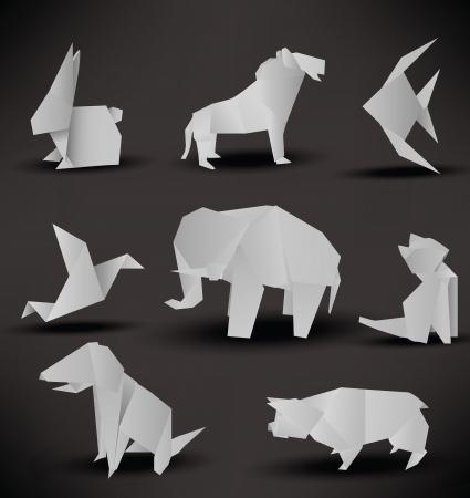 elefante: Origami animales negro blanco
