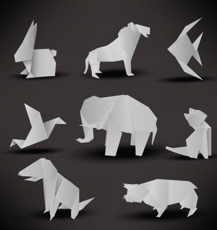animal: Origami animals  black   white  Illustration