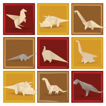 prehistoric animals: Origami dinosaurs  sepia tone